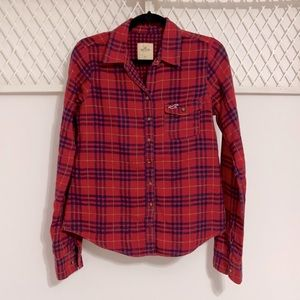 HOLLISTER Plaid Long Sleeve Button Down Shirt